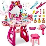LINFUN KIDS Maquillaje Tocador Princesas Juguetes con Taburete, Espejo con Luces y Música, Peluqueria Set, Juego de rol Regalos para Niñas Niños 3 4 5