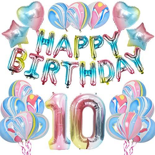 KUNGYO Arco Iris10 CumpleañosFiestaDecoraciones - Muchachas CumpleañosFiesta SuministrosHAPPY BIRTHDAY Globo Bandera, Número 10 FrustrarGlobo,Arco IrisEstrella y Corazón Globo 28 Piezas