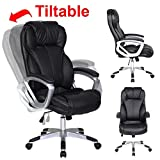 2xhome - Modern High Back Tall Ribbed PU Leather Swivel Tilt Adjustable Chair Designer Boss Executive Management Manager Office Conference Room Work Task Computer (Black)