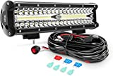 Nilight ZH411-A 12Inch 12 Inch 300W Triple Row Flood Spot Combo 30000LM Led Off Road Lights for Trucks with 16AWG Wiring Harness Kit,2 Years Warranty