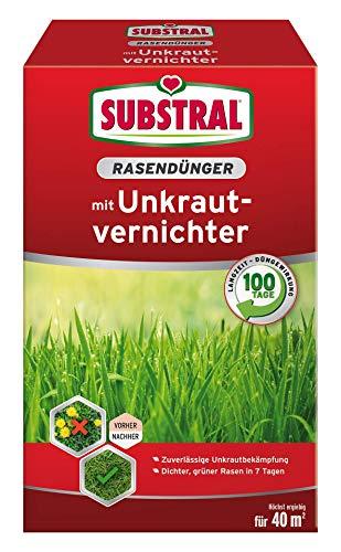 Substraal gazonmest met onkruidverdelger, professionele kwaliteit met 100 dagen langdurige werking en onkruidverdelging in één keer, 0,8 kg voor 40 m2 0,8 kg für 40 m²