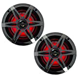 1 Pair (QTY 2) of Enrock Marine 6.5' 4-Ohm 120 Watt Peak Power Waterproof 2-Way Coaxial Speakers with MultiColor LED Lighting - Bundle Combo with Chrome Grilles