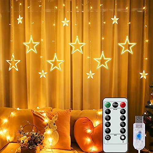 Luci a Stringa con 12 Stelle, 138 Luci per Tende a LED con 8 Modalità di Illuminazione e Telecomando, Luci Decorative per Feste in Giardino per Matrimoni Camera per Ragazze di Natale