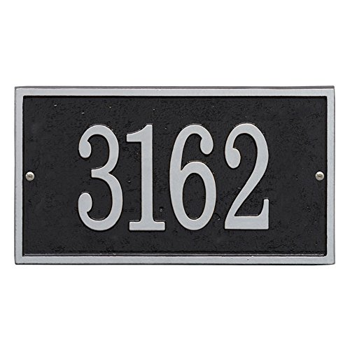 "Whitehall Personalized Cast Metal Address Plaque - Custom House Number Sign - Rectangle (11"" x 6.25"") Black with Silver Numbers"