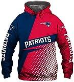 NFLSHX Sweat à capuche pour homme Motif Patriots Rugby Maillot 3D Unisexe Printemps Soccer à manches longues (taille XXL )