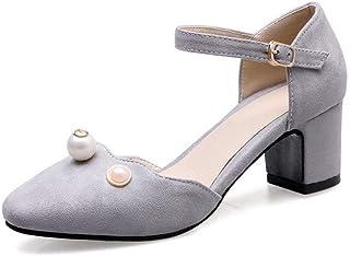 BalaMasa Womens ASL06704 Pu Block Heels