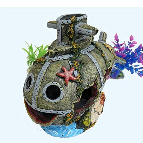 ETOPARS Aquarium Dekoration U-Boot, Ornamente für Aquarien, Dekoration Fuer Fish Tank, Versteckte Höhlen, Bieten Sie Schutz für Aquarium-Reptilien