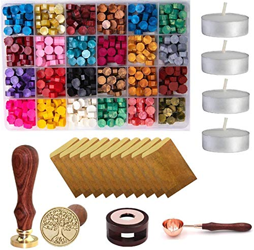 Wax Seal Set, 600 Pcs Octagon Sealing Wax Beads with 1 Pcs Melting Furnace, 1 Pcs Tree of Life Stamp, 10 Pcs High-Grade Vintage Envelope, 4 Pcs Tea Candles and 1Pcs Wooden Handle Wax Melting Spoon