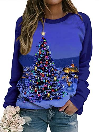 ULAIK Women's Novelty Christmas Jumpers Tree Star...