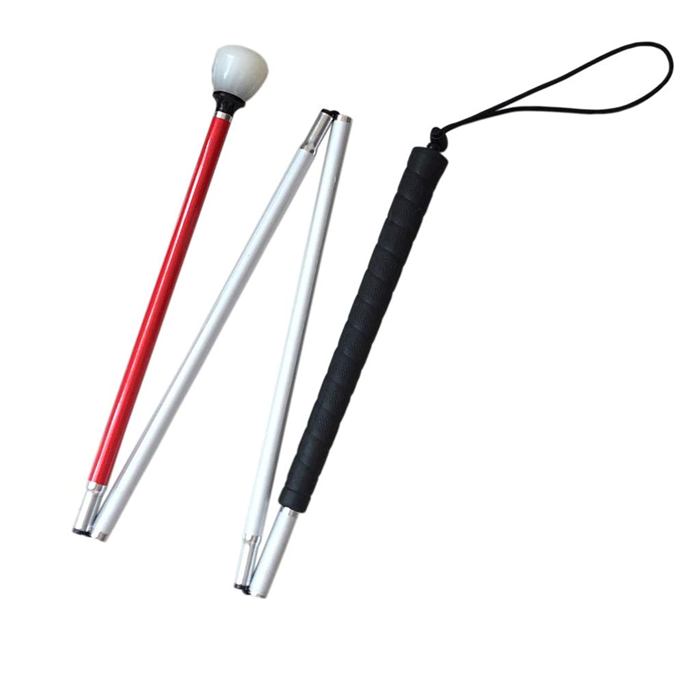VISIONU White Cane Aluminum Mobility Folding Cane for the Blind (Folds Down 4 sections) (123 cm (48.4 inch))