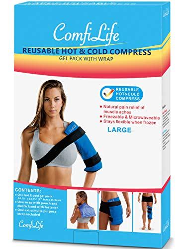 ComfiLife Ice Packs for Injuries – Reusable Hot & Cold Pack with Wrap – Flexible Gel Pack Ice Wrap for Back Pain, Knee, Shoulder, Neck, Hips – Heat & Cold Therapy Relief – Large