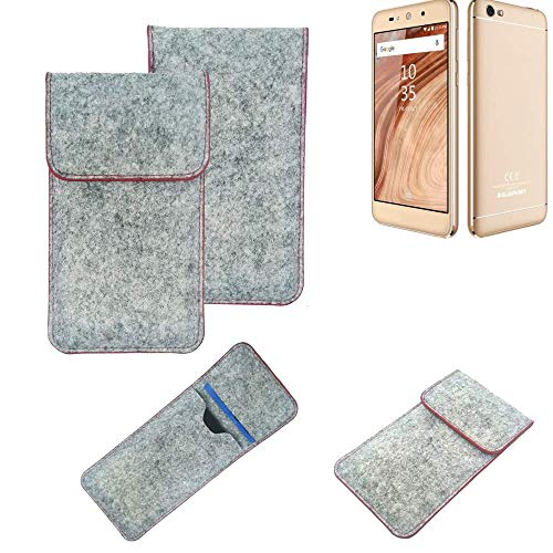 K-S-Trade® Handy Schutz Hülle Für Blaupunkt SL02 Schutzhülle Handyhülle Filztasche Pouch Tasche Hülle Sleeve Filzhülle Hellgrau Roter Rand