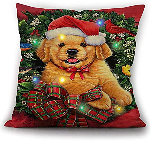 GBSELL Christmas Pillow Covers, LED Lights Christmas Pillow Cover Cases Xmas Cushion Covers, Light Up Christmas Holiday Throw Pillow, 45cmx45cm, (2 Button Batteries are Included)