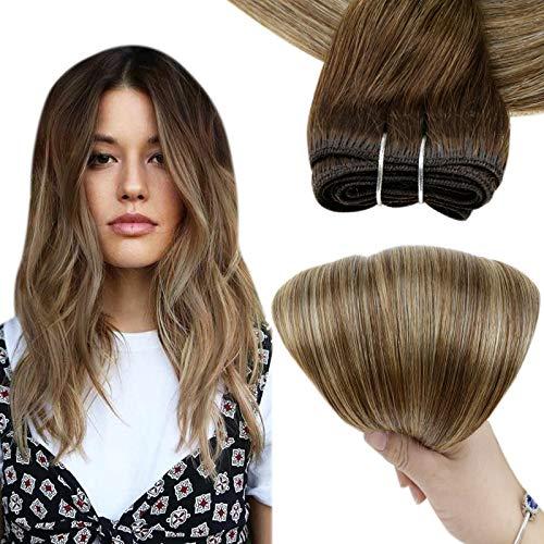 Easyouth Extension de Cheveux Weft Humain Cheveux de Bundles Couleur Medium Brown Fading to Honey Blonde Remy Humain Tissage Cheveux Bundles 12pouce 70g