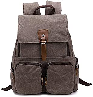 Bag Canvas Bag Blank Canvas Backpack Bags Large-Capacity Fashion Multi-Function Leisure Travel Bag (Color : Brown, Size : S)