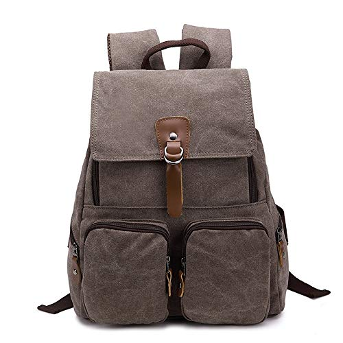 Glqwe Leichte Packable Wanderrucksäcke Wasserdichter, Bag Leinentaschen Dummy Canvas Rucksack Taschen Großvolumige Mode Multifunktions-Freizeit Reisetasche (Color : Brown, Size : S)