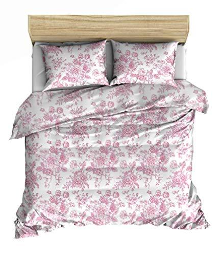 Lemur Soloi Pink Bed Linen Set 155 x 220 cm 4-Piece Renforcé 100% Cotton Oeko-Tex Standard 100 Duvet Cover 155 x 220 cm Pillowcase 80 x 80 cm