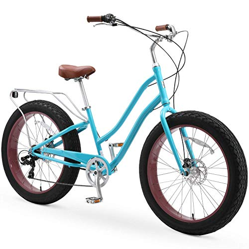 sixthreezero EVRYjourney Fat Tire Women's 7-Speed Step-Through Touring Hybrid Bike, 26' Bicyle, Teal with Brown Seat and Brown Grips