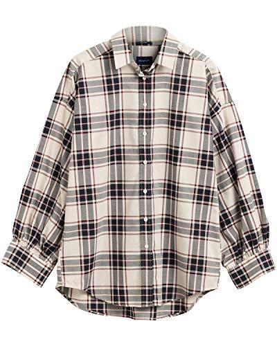 GANT Damen D2. TP OXF Plaid Oversized Shirt Hemd, Putty, 36