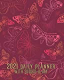 2021 Daily Planner with Sudoku a Day: Red Pink Butterflies Planning by Day Calendar Jan-Dec 2021