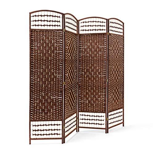 Relaxdays 10020068_93 Biombo Divisor/Separador de Habitaciones, 179 x 180 x 2 cm, 4 Paneles, Madera con puntales de bambú, Color marrón