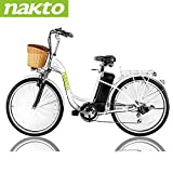 """NAKTO 26"""" Electric Bike 6 Speed Electric Bikes for Adults 250W High Speed Ebike City Electric Bicycle with 36V10AH Removable Lithium Battery and 1 Year Warranty"""