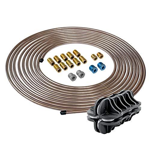 "4LIFETIMELINES 3/16"" Copper Coated Steel Brake Line Replacement Kit & Handheld Tubing Straightener"