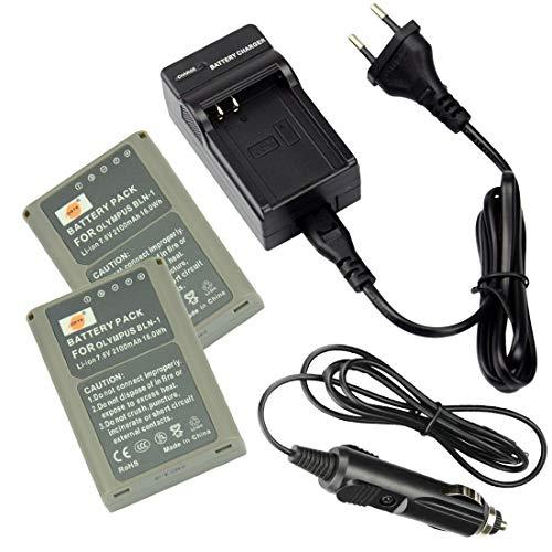 DSTE Pack de 2 baterías de repuesto y cargador de viaje DC133E Compatible para Olympus BLN-1 E-M1 E-M5 OM-D PEN E-P5 Mark II como BLN1 BCN-1