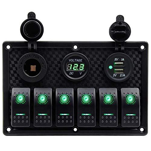 JVSISM Wasserdichte 6 Gang Marine Boot Wippschalter Panel Mit Sicherung 4.2A Dual USB Slot Buchse + Digitale Spannungsanzeige + Zigarettenanzünder Led Licht Für Auto Rv Fahrzeuge (Grün)