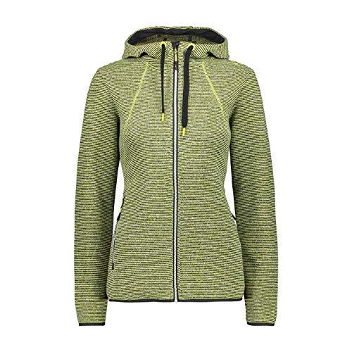 CMP – F.lli Campagnolo Damen Fleece Jacket Strickfleecejacke mit Kapuze, Lime-Nero, D42, 30H1906