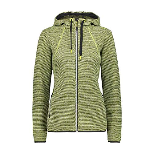 CMP – F.lli Campagnolo Damen Fleece Jacket Strickfleecejacke mit Kapuze, Lime-Nero, D38, 30H1906