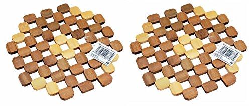 2x Pfannen- & Topfuntersetzer | Bambus Holz Tischuntersetzer | Untersetzer