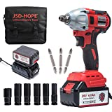 Cordless Impact Wrench - JSD 20V Electric Impact Driver (4.0Ah Battery, Brushless Motor, 1/2 & 1/4 Inch Quick Chuck,...