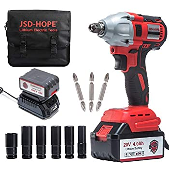 Cordless Impact Wrench - JSD 20V Electric Impact Driver  4.0Ah Battery Brushless Motor 1/2 & 1/4 Inch Quick Chuck 2-Speed Tool Bag  - High Torque Impact Kit for Home & DIY Project
