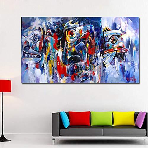 YuanMinglu Smart abstrakte Ölgemälde Wandbild Wohnzimmer Wohnkultur abstrakte Bunte Leinwand Kunst Baum Graffiti Wandbild rahmenlose Malerei 50x90cm