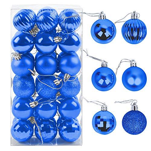 ZoneYan Palle di Natale 4cm, Palline Dell'Albero di Natale, Addobbi Natalizi Palline per Albero, Set Palla di Natale, Albero di Natale Palla Decorazioni con Albero Natale Scintillante—36 Pezzi (Blu)