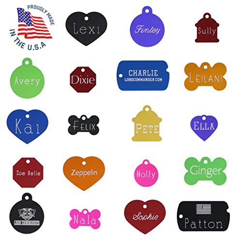 Lobo Commander Custom Engraved Pet ID Tags for Your Dog Or Cat, Personalized Front & Back, Up to 4 Lines of Text Per Side, Many Shapes & Colors to Choose, Small & Large Sizes Suitable for All Pets!