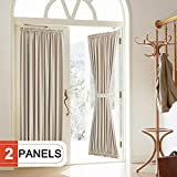 Rose Home Fashion Blackout Door Curtain, Elegance French Door Curtains for Privacy, Thermal Insulated Door Curtain Panels, Room Darkening Door Window Curtain (50' x 72' 2pcs: Beige)