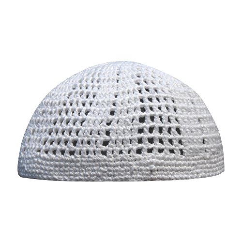 Weiße Kufi-Mütze, eng und lose, gewebte Mischung, gehäkelt, 100 % Baumwolle,...