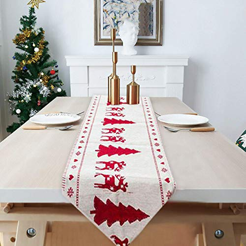 sandonge Christmas Table Runners,Snowman Table Runners,Cotton Linen Table Cloth with Tassels Embroidered Christmas Table Decoration for Christmas Dinner Party Supplies,71 x 13 Inch (Tree)