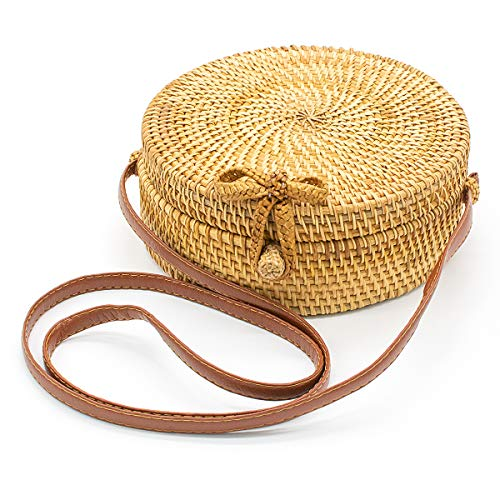 PREMIUM MATERIAL - The round rattan bag is made of natural and renewable rattan material and the straw bag is exquisitely and elaborately handcrafted by Vietnamese artisans. The strap is made of genuine leather and the snap clasp is strong enough to ...