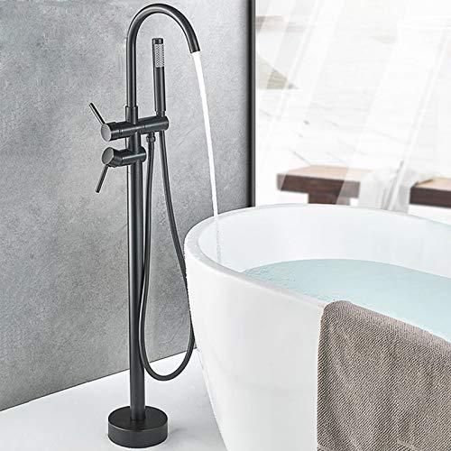 Rozin Grifería de baño independiente con 2 asas, giratorio 360°, caño con alcachofa de mano, manguera de 150 cm, color negro