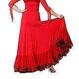 Q-JIU - Pantalón de baile para mujer (fibra de leche), rojo, X-Large
