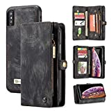 iPhone Xs Max Wallet Case, Zttopo 2 in 1 Leather Zipper Detachable Magnetic 11 Card Slots Card Slots Money Pocket Clutch Cover with Screen Protector for 6.5 Inch iPhone Case -Black Grey