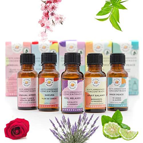 Set 5 Aceite Ambientador Hidrosoluble Especial Aromaterápia (Feel Relaxed, Sensual Amber, Inner Peace, Sakura, Spirit Balance) 5x15ml