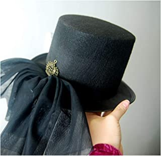 SHENTIANWEI Women Steampunk Top Hat with Lace Ribbon Performance Hat Dance Party Hat Bowler Hat Size 57CM