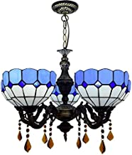 Stained Glass lamp, Tiffany Living Room Ceiling Lamp 24 Inch Tiffany Blue White Mediterranean Style Chandelier Glass Penda...