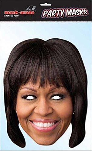 empireposter Michelle Obama Prominentenmaske, Papp Maske, aus hochwertigem Glanzkarton mit Augenlöchern, Gummiband - Grösse ca. 30x21 cm