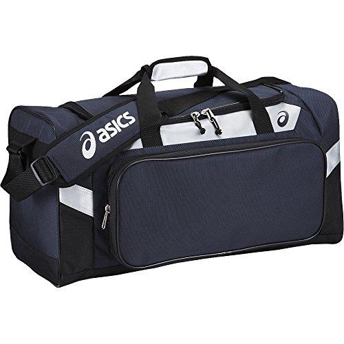 [asics] ゲームバッグ 約42L 前ポケット着脱可能 ボストンバッグ BEA270 ネイビー/シルバー