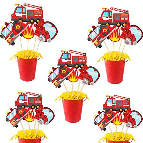 JeVenis 24 piezas de decoración para cumpleaños de bombero, diseño de corazón